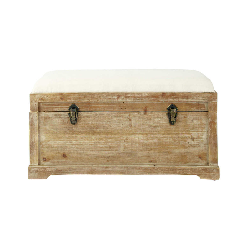 banc avec coffre de rangement en bois de sapin et coton l. Black Bedroom Furniture Sets. Home Design Ideas