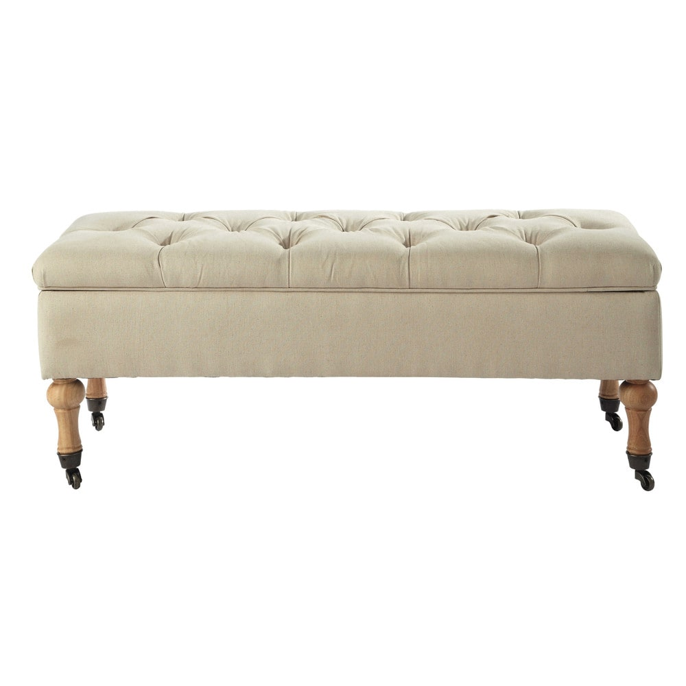 Banc capitonn roulettes avec coffre en bois et coton cru l 42 cm colette - Banquette lit maison du monde ...