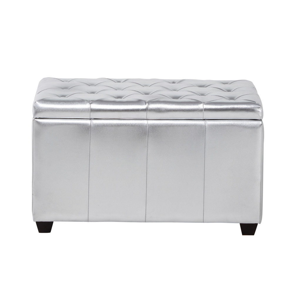 banc coffre capitonn en textile enduit argent l 80 cm chesterfield maisons du monde. Black Bedroom Furniture Sets. Home Design Ideas
