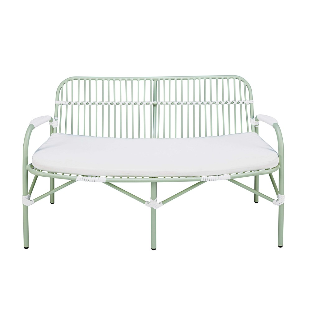 banc de jardin 2 places en aluminium vert clair et coussin blanc gariguette maisons du monde. Black Bedroom Furniture Sets. Home Design Ideas