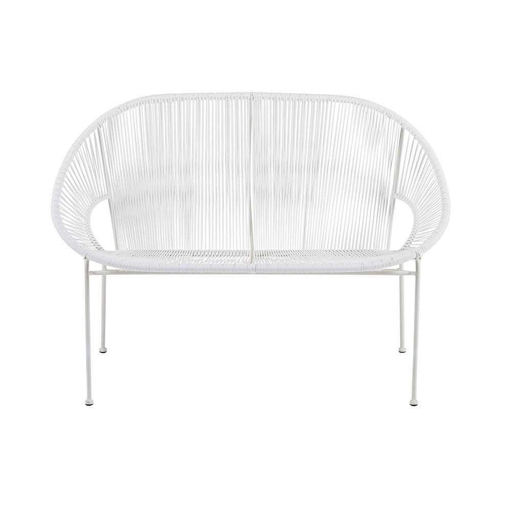 banc de jardin empilable 2 3 places en fil de r sine et m tal blanc copacabana maisons du monde. Black Bedroom Furniture Sets. Home Design Ideas