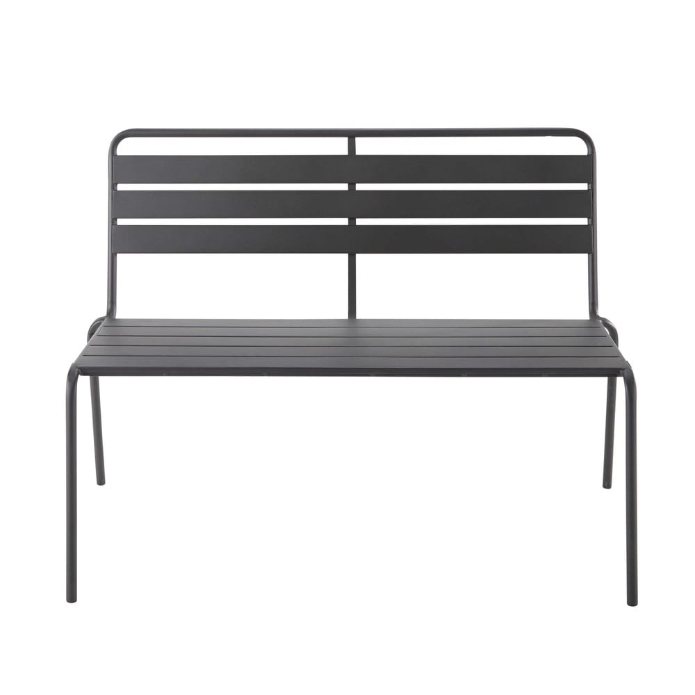 banc de jardin en m tal gris anthracite l 118 cm bianca. Black Bedroom Furniture Sets. Home Design Ideas