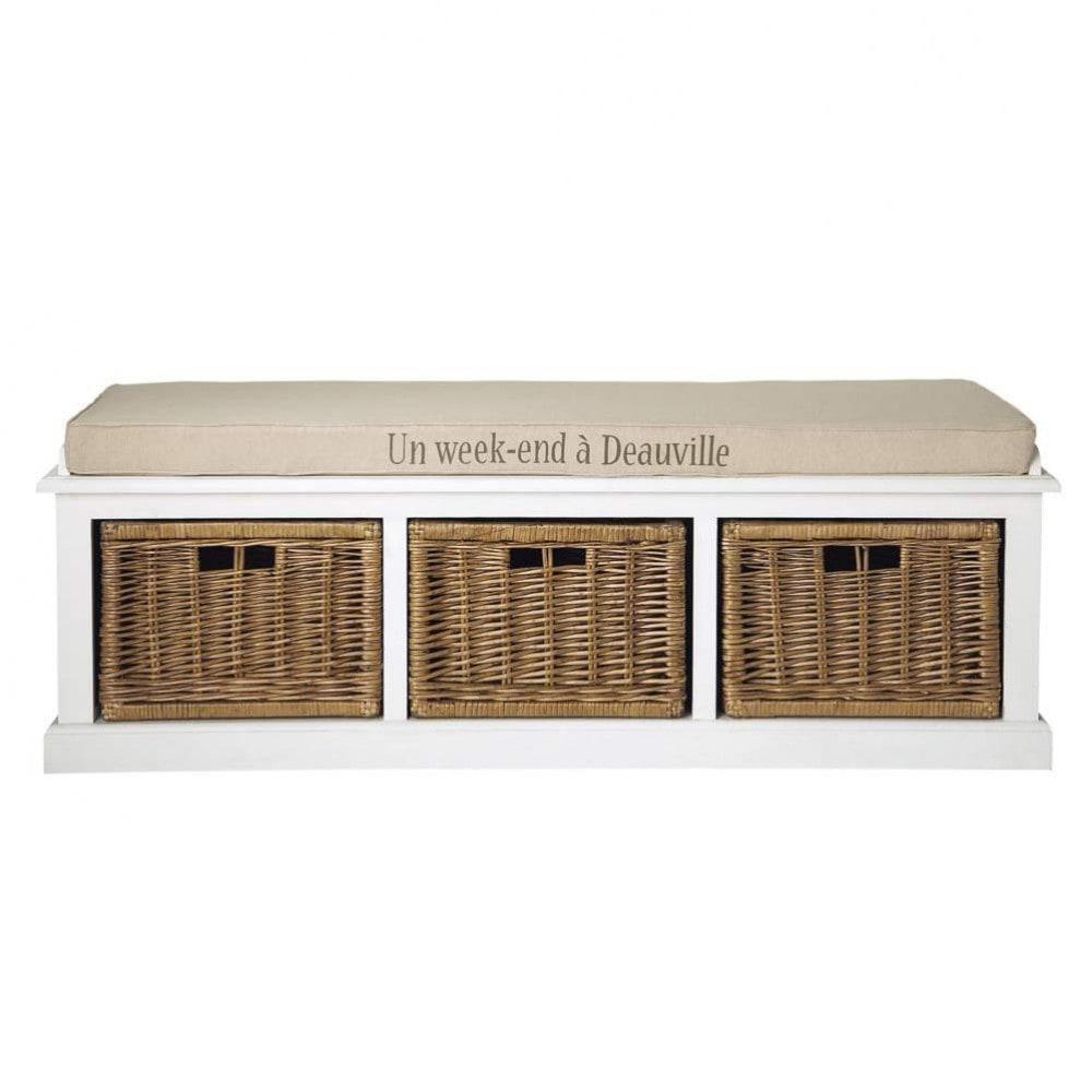 banc de rangement en bois et coton blanc l 130 cm comptoir des pices maisons du monde. Black Bedroom Furniture Sets. Home Design Ideas