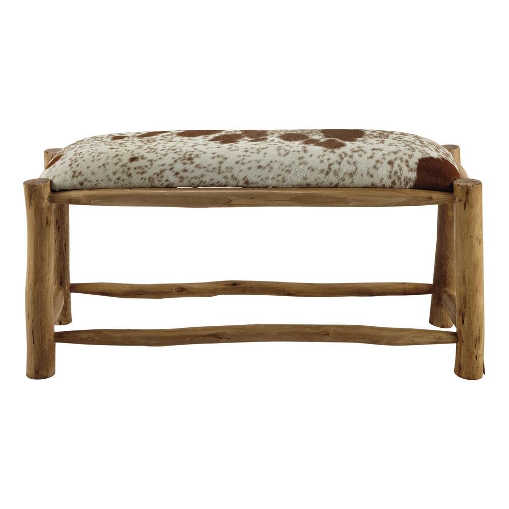 banc en eucalyptus et peau de ch vre l 100 cm alpin maisons du monde. Black Bedroom Furniture Sets. Home Design Ideas