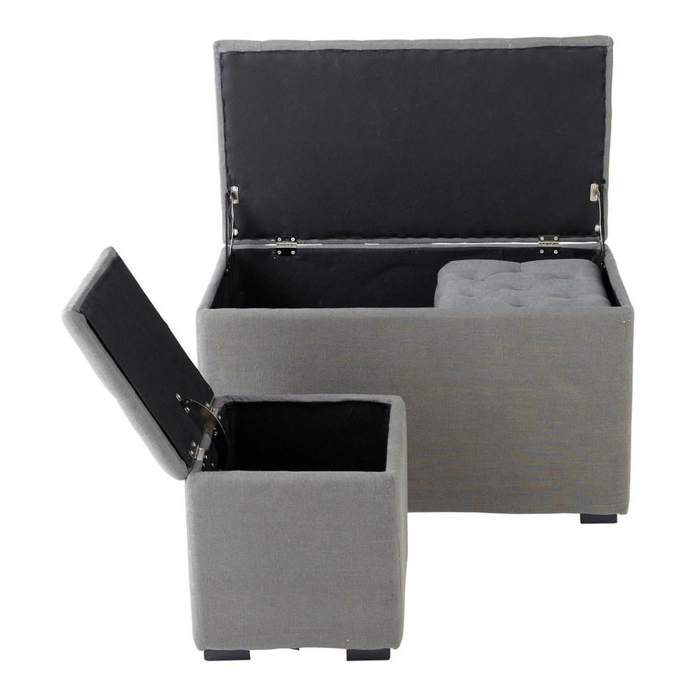Banc et 2 poufs coffre en lin gris l 78 cm marceau - Banco maison du monde ...
