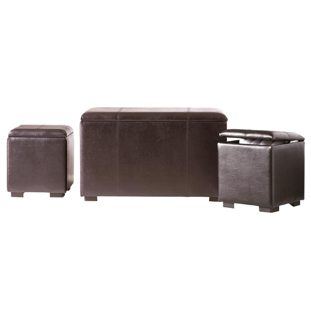banc et 2 poufs coffre imitation cuir marron l 78 cm soho maisons du monde. Black Bedroom Furniture Sets. Home Design Ideas