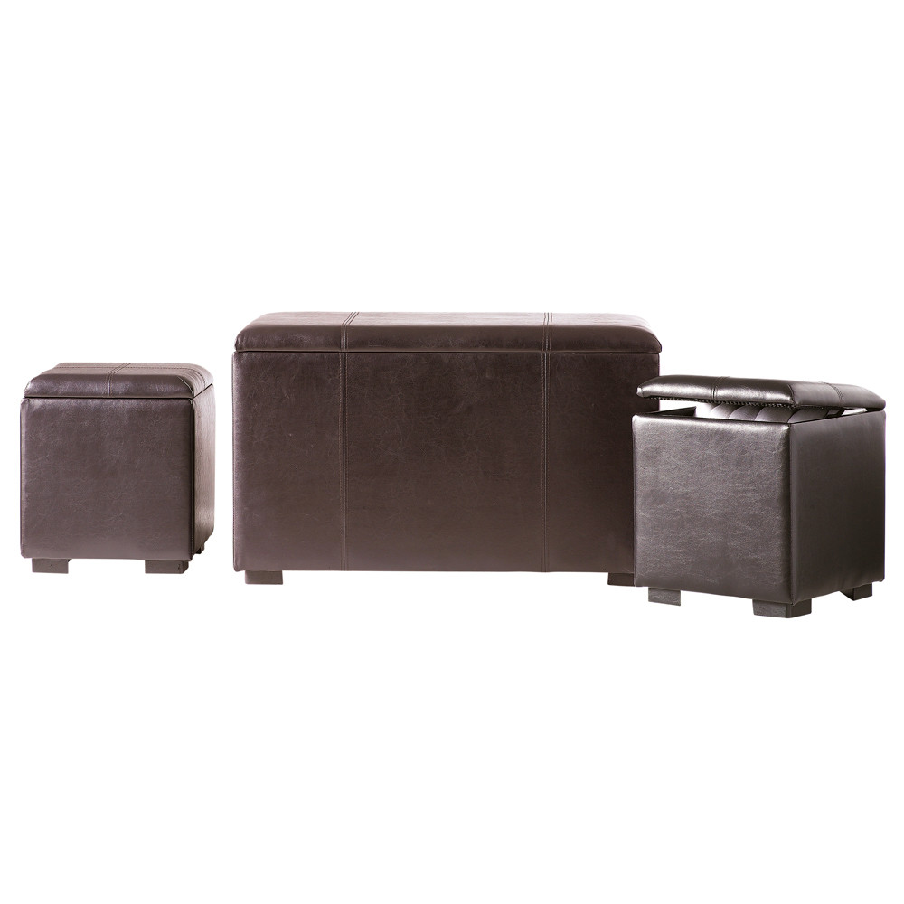 banc et 2 poufs coffres marrons l 78 cm soho maisons du monde. Black Bedroom Furniture Sets. Home Design Ideas