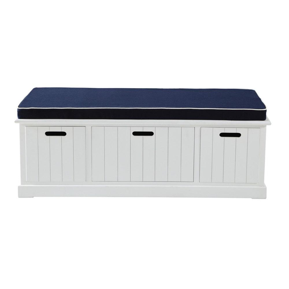 Banco de almacenaje de madera blanco an 130 cm princeton for Bancos de jardin con almacenaje