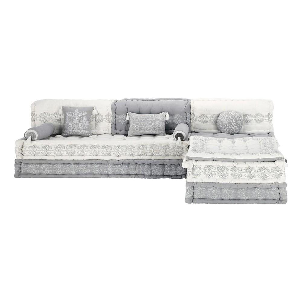 Banco esquinero modulable de 6 plazas de algod n gris y for Sofa gris y blanco