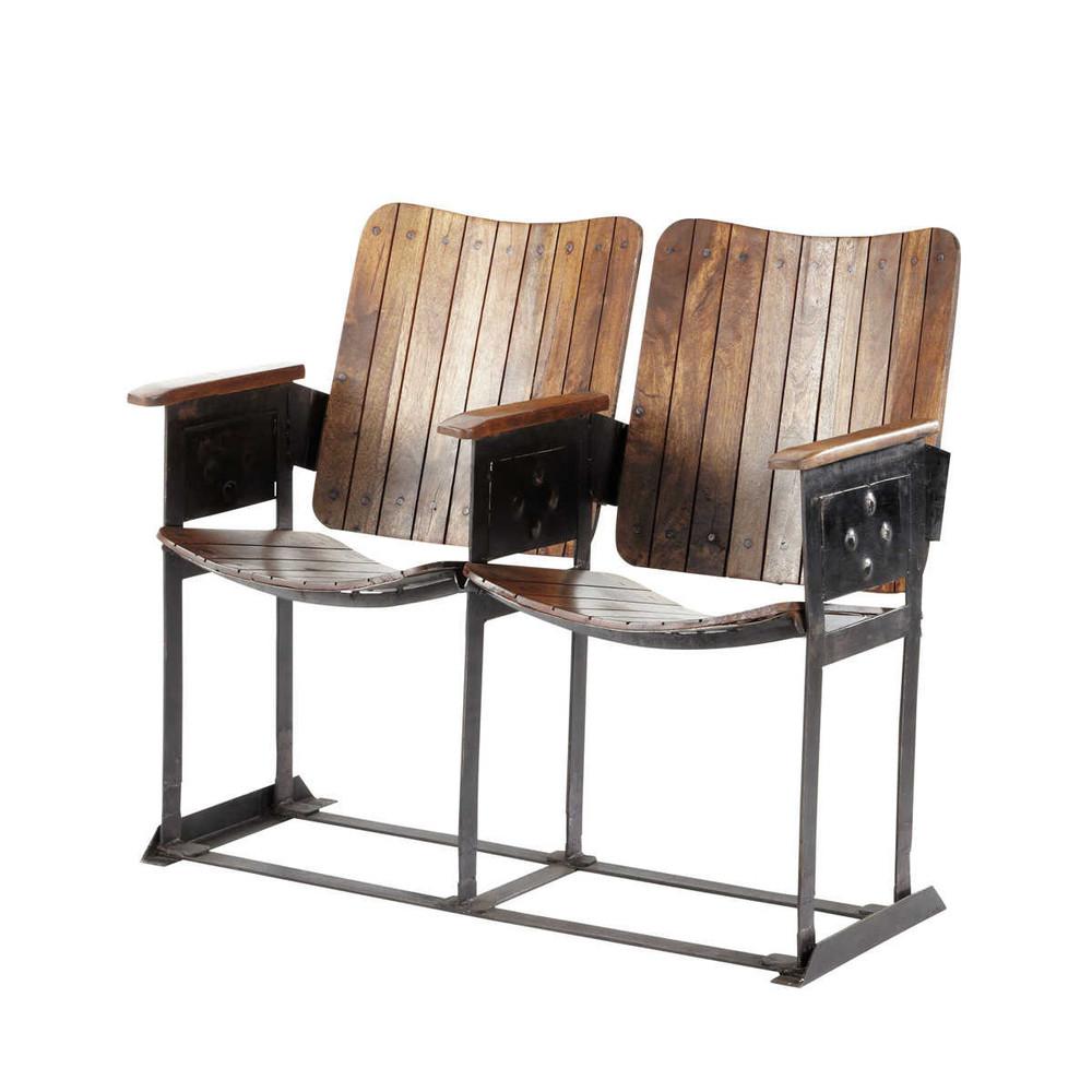 Banco industrial de 2 plazas de mango con efecto for Muebles de efecto industrial