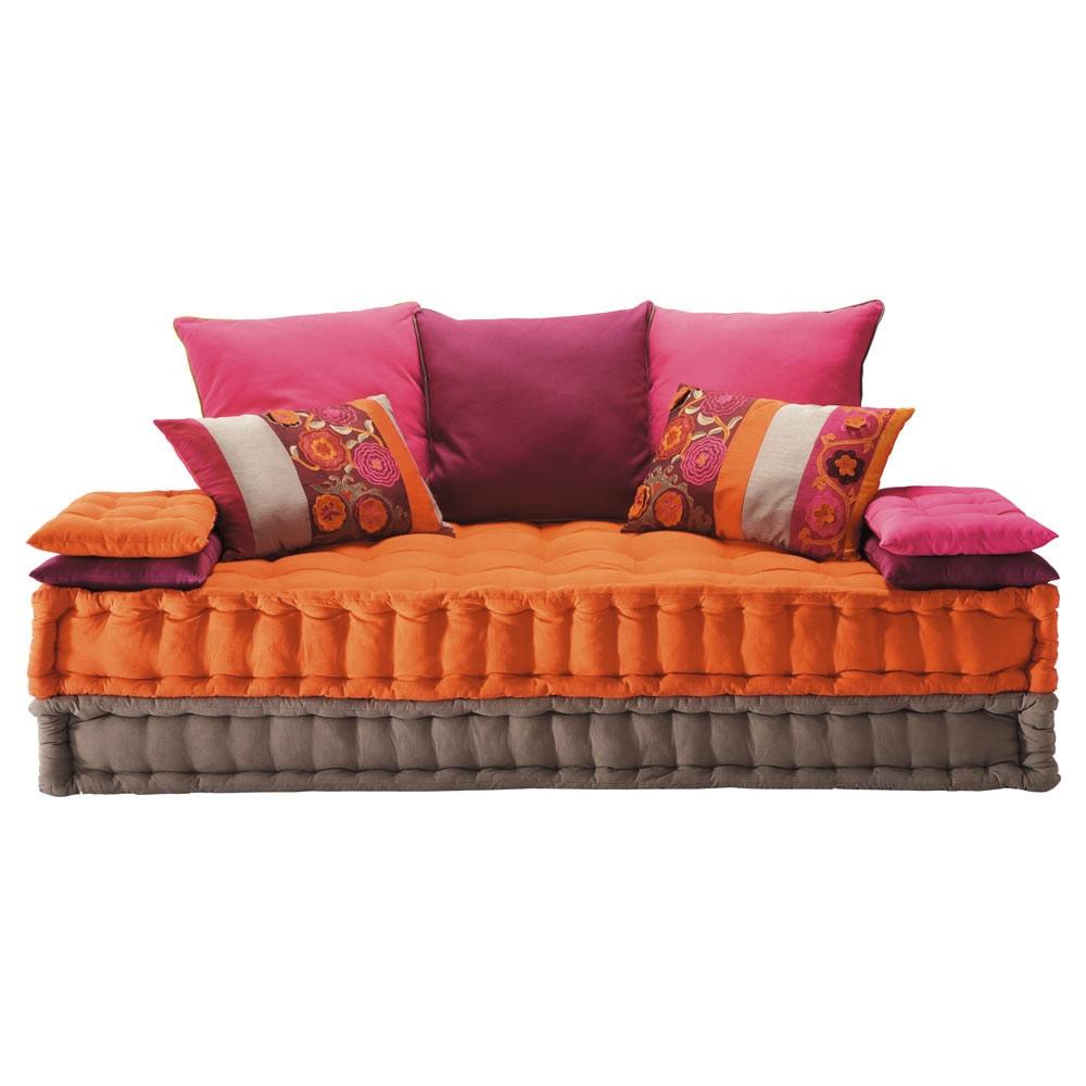 Banquette 2 3 places en coton multicolore bolcho for Banquette lit confortable