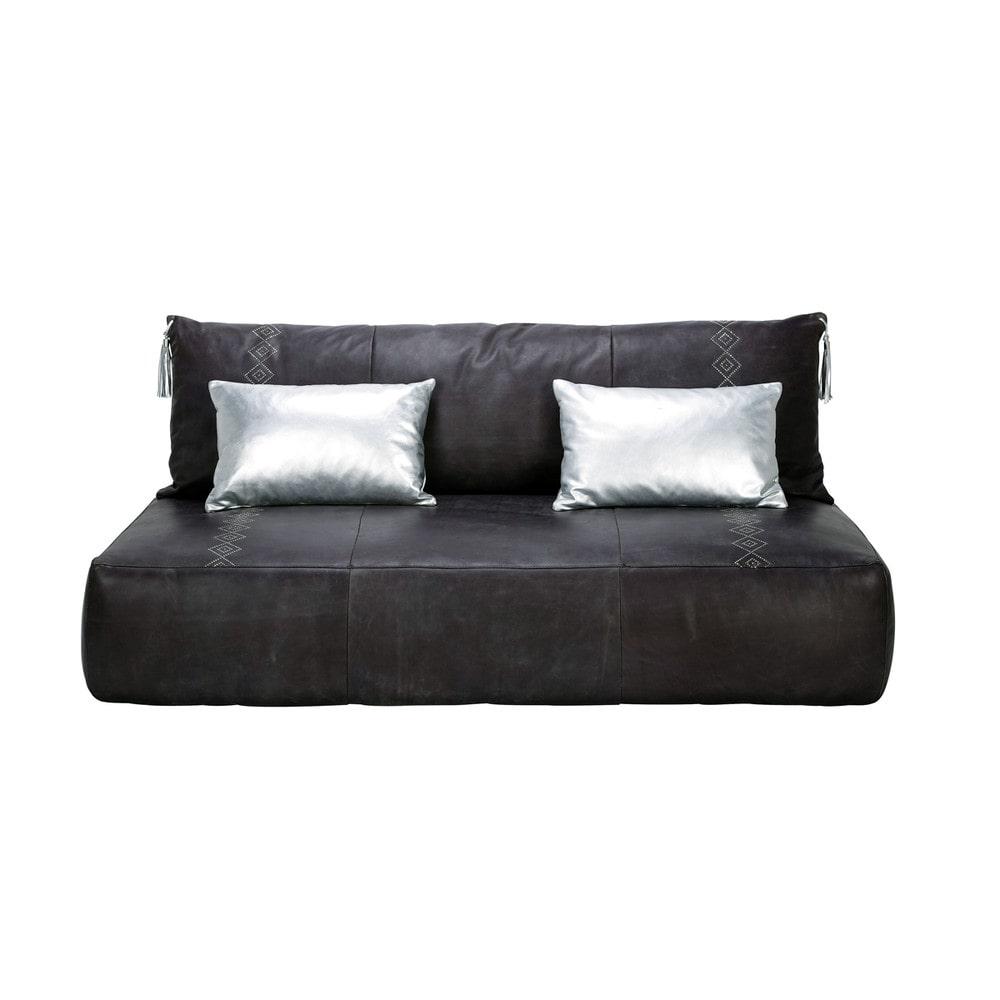 banquette 2 3 places fixe cuir gris hammam maisons du monde. Black Bedroom Furniture Sets. Home Design Ideas