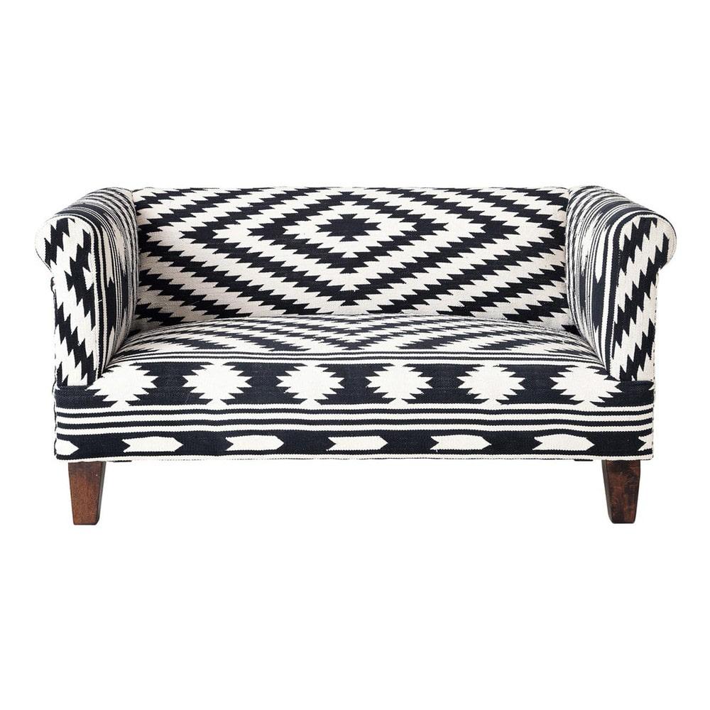 banquette 2 places en coton noir et blanc tabriz maisons. Black Bedroom Furniture Sets. Home Design Ideas