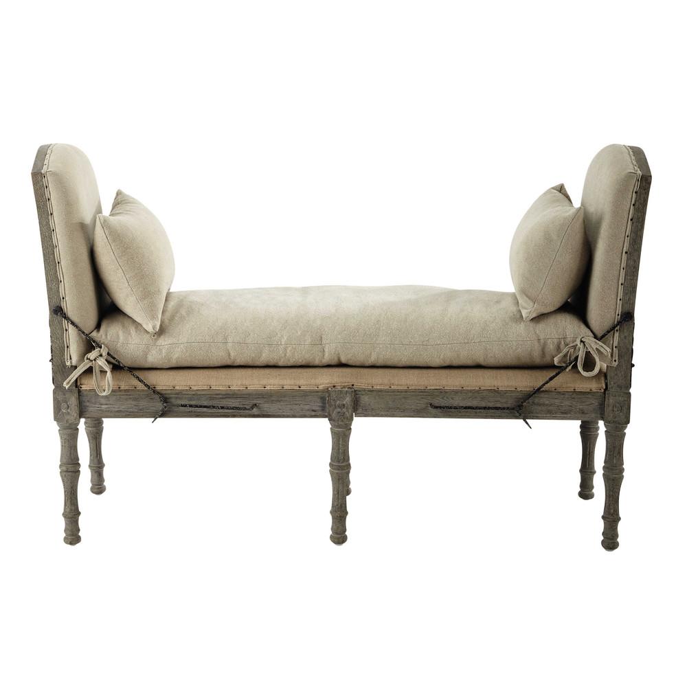 banquette 2 places en lin beige amboise maisons du monde. Black Bedroom Furniture Sets. Home Design Ideas