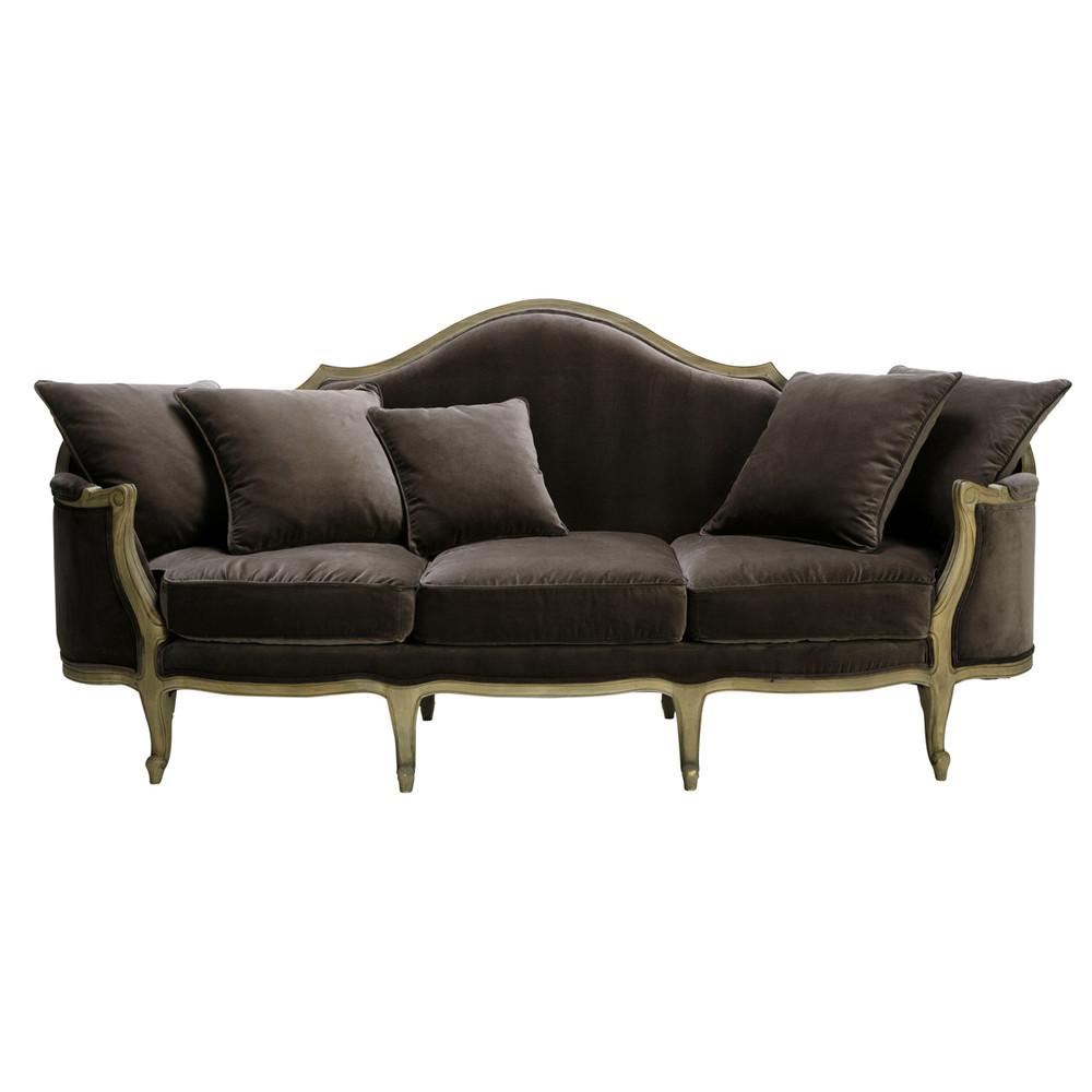 banquette 3 places en velours anthracite clarisse maisons du monde. Black Bedroom Furniture Sets. Home Design Ideas