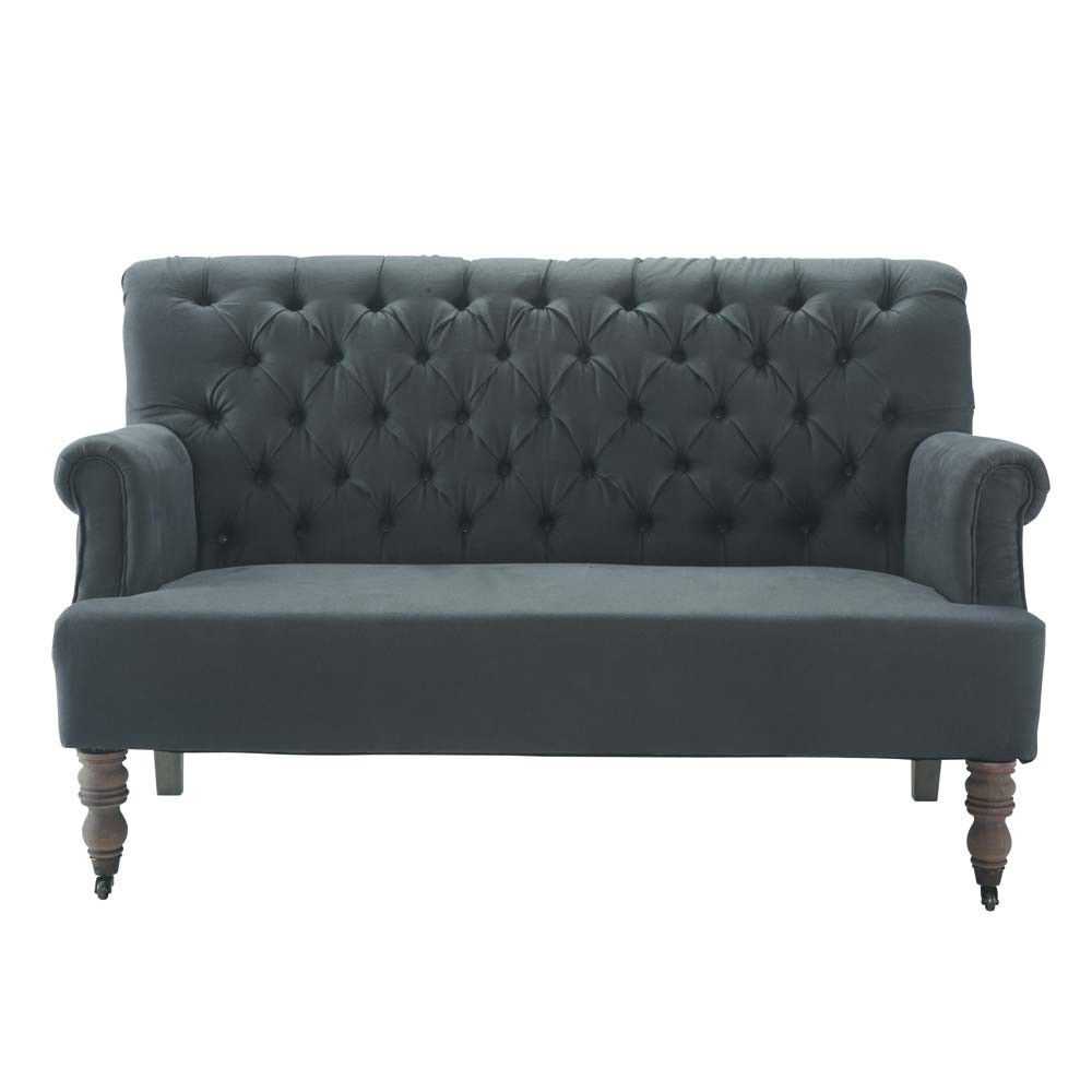banquette capitonn e 2 places en coton anthracite augustin. Black Bedroom Furniture Sets. Home Design Ideas