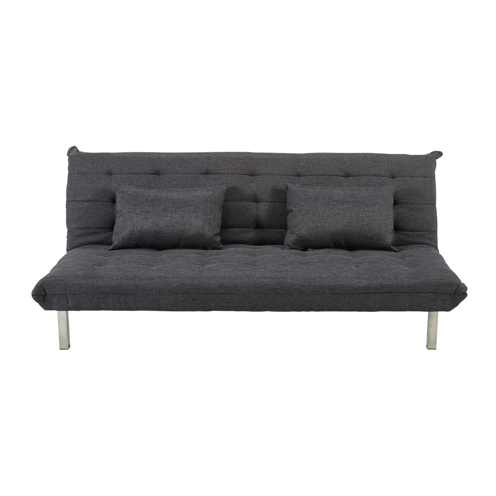 banquette convertible 2 places en tissu gris chin max. Black Bedroom Furniture Sets. Home Design Ideas