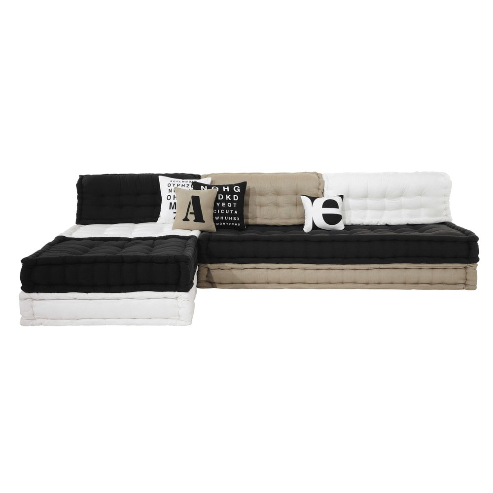 banquette d 39 angle 4 places en coton tricolore street. Black Bedroom Furniture Sets. Home Design Ideas