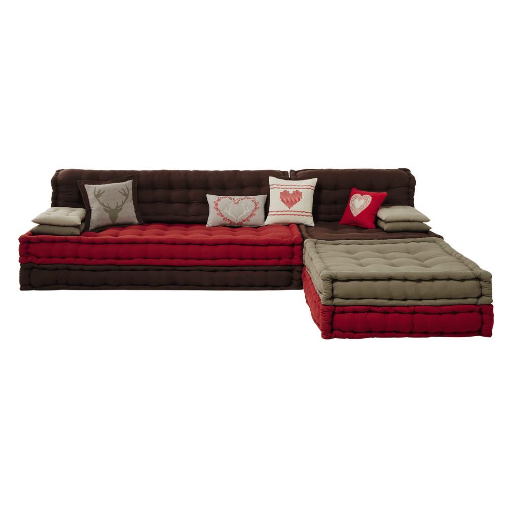 banquette d 39 angle 6 places en coton rouge marron heidi. Black Bedroom Furniture Sets. Home Design Ideas