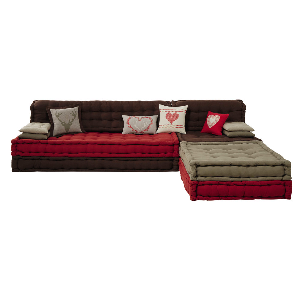 banquette d 39 angle 7 places en coton rouge marron heidi. Black Bedroom Furniture Sets. Home Design Ideas
