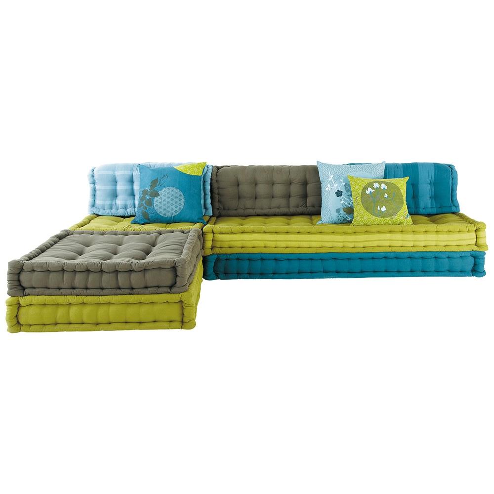 banquette d 39 angle modulable 6 places en coton bleue et verte kimimoi maisons du monde. Black Bedroom Furniture Sets. Home Design Ideas