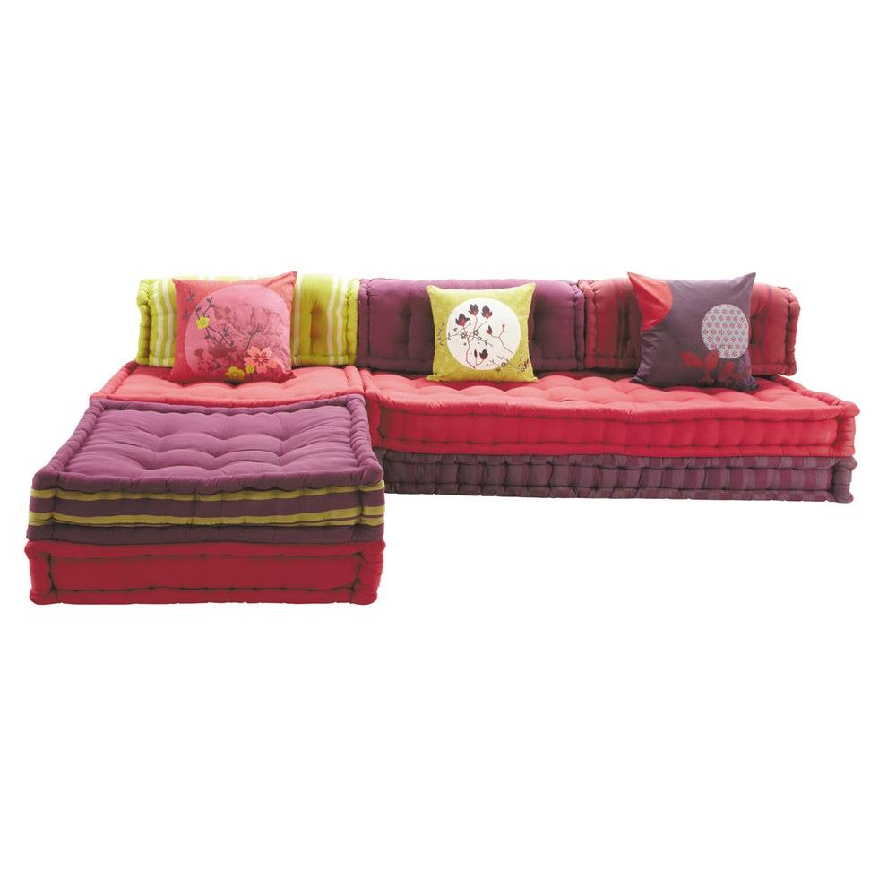 Banquette d 39 angle modulable 6 places en coton rose kimimoi for Banquette indienne maison du monde