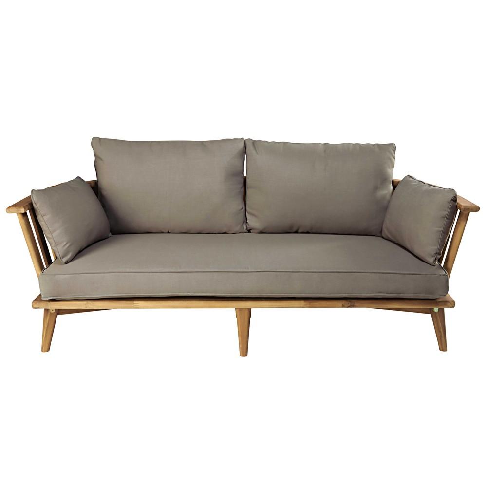 banquette de jardin 2 3 places en acacia massif et coussins taupe noumea maisons du monde. Black Bedroom Furniture Sets. Home Design Ideas