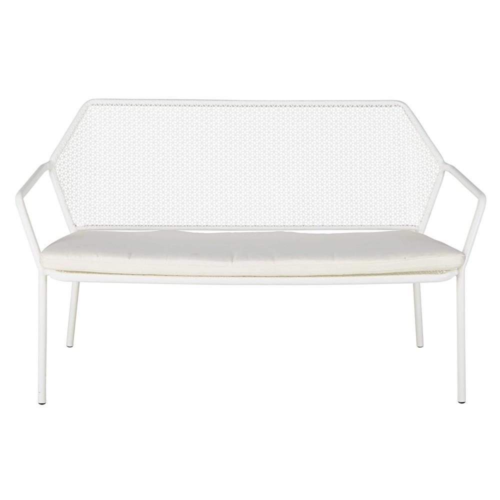 banquette de jardin 2 3 places en m tal blanc et coussin. Black Bedroom Furniture Sets. Home Design Ideas