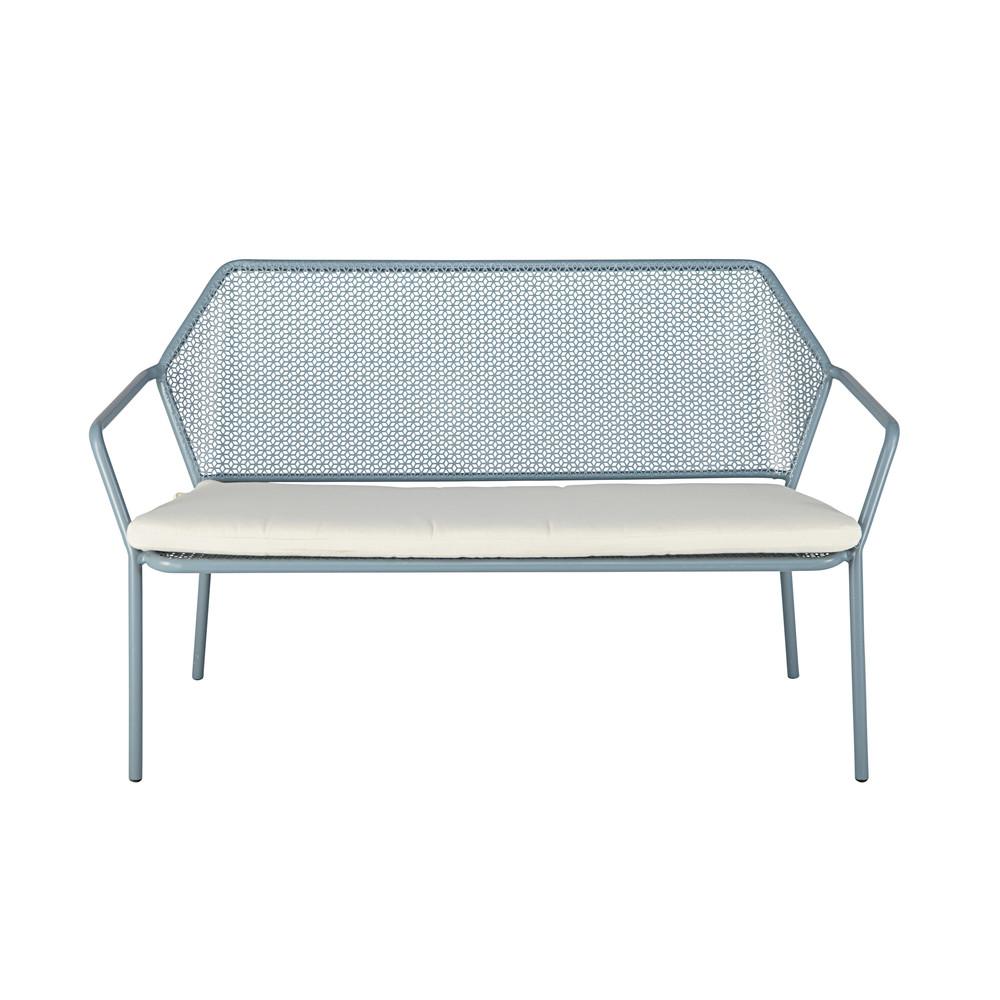 banquette de jardin 2 3 places en m tal bleu clair et coussin blanc maldives maisons du monde. Black Bedroom Furniture Sets. Home Design Ideas
