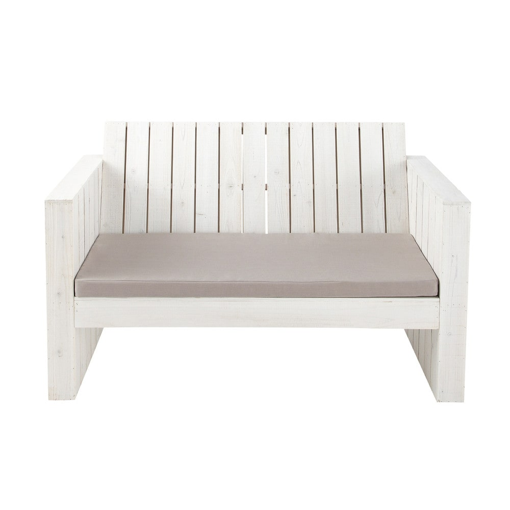 banquette de jardin 2 places en bois blanche faro. Black Bedroom Furniture Sets. Home Design Ideas