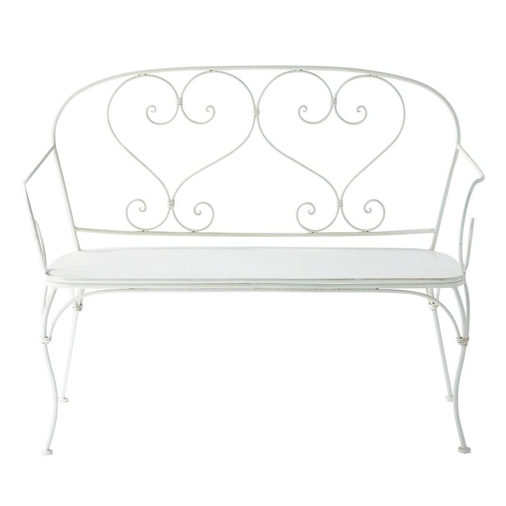 banquette de jardin 2 places en fer forg ivoire st germain maisons du monde. Black Bedroom Furniture Sets. Home Design Ideas