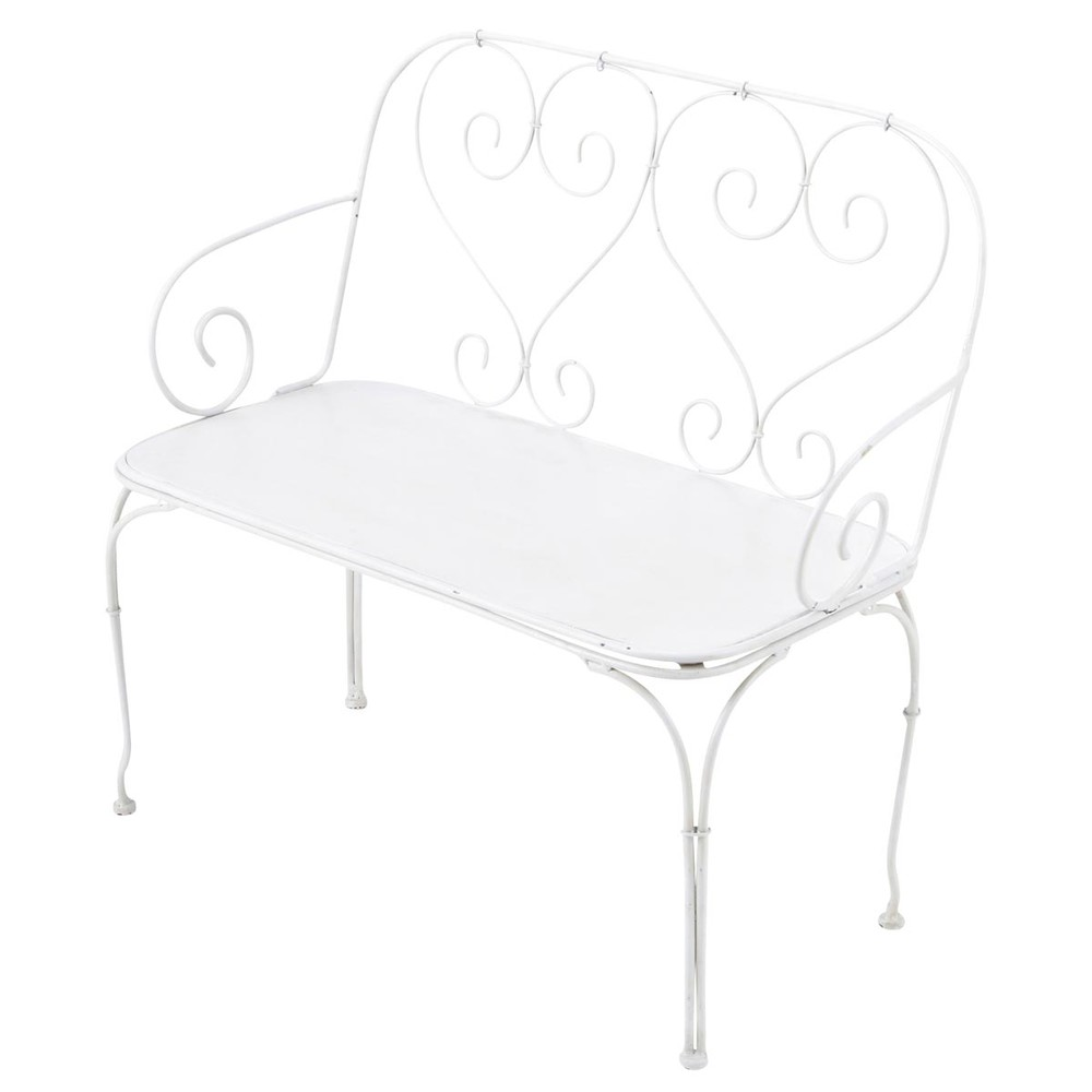 banquette de jardin pour enfant 2 places en fer forg blanche saint germain maisons du monde. Black Bedroom Furniture Sets. Home Design Ideas