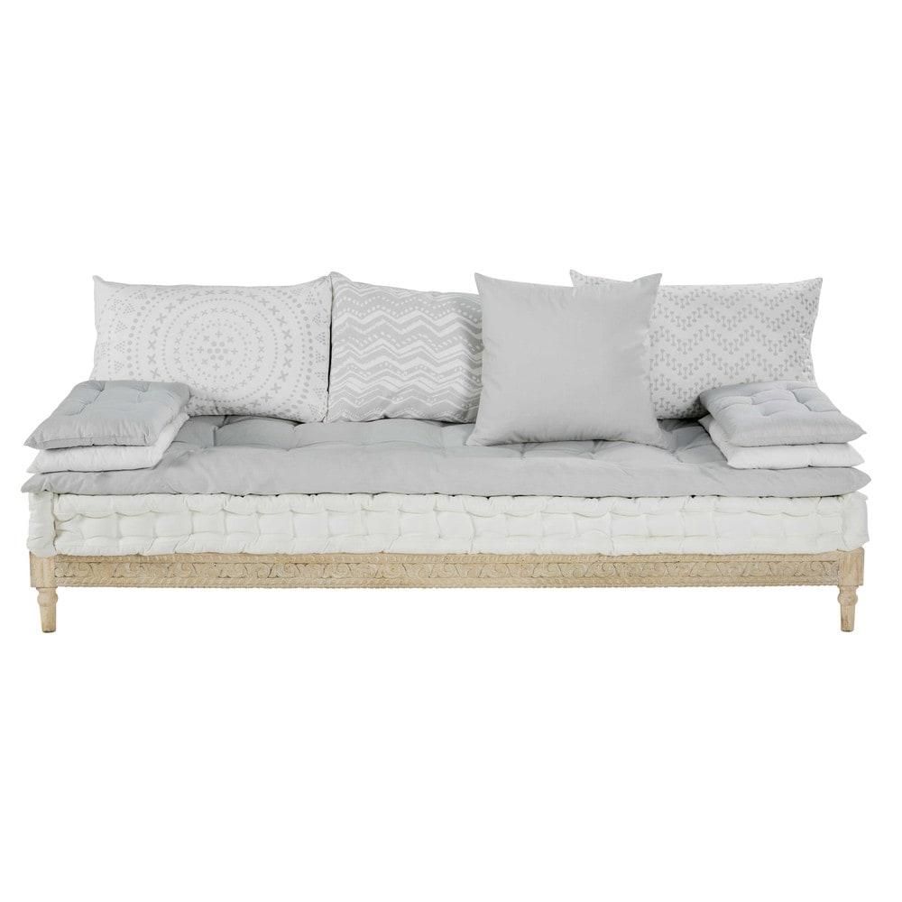 banquette en coton bicolore et manguier sculpt matala. Black Bedroom Furniture Sets. Home Design Ideas