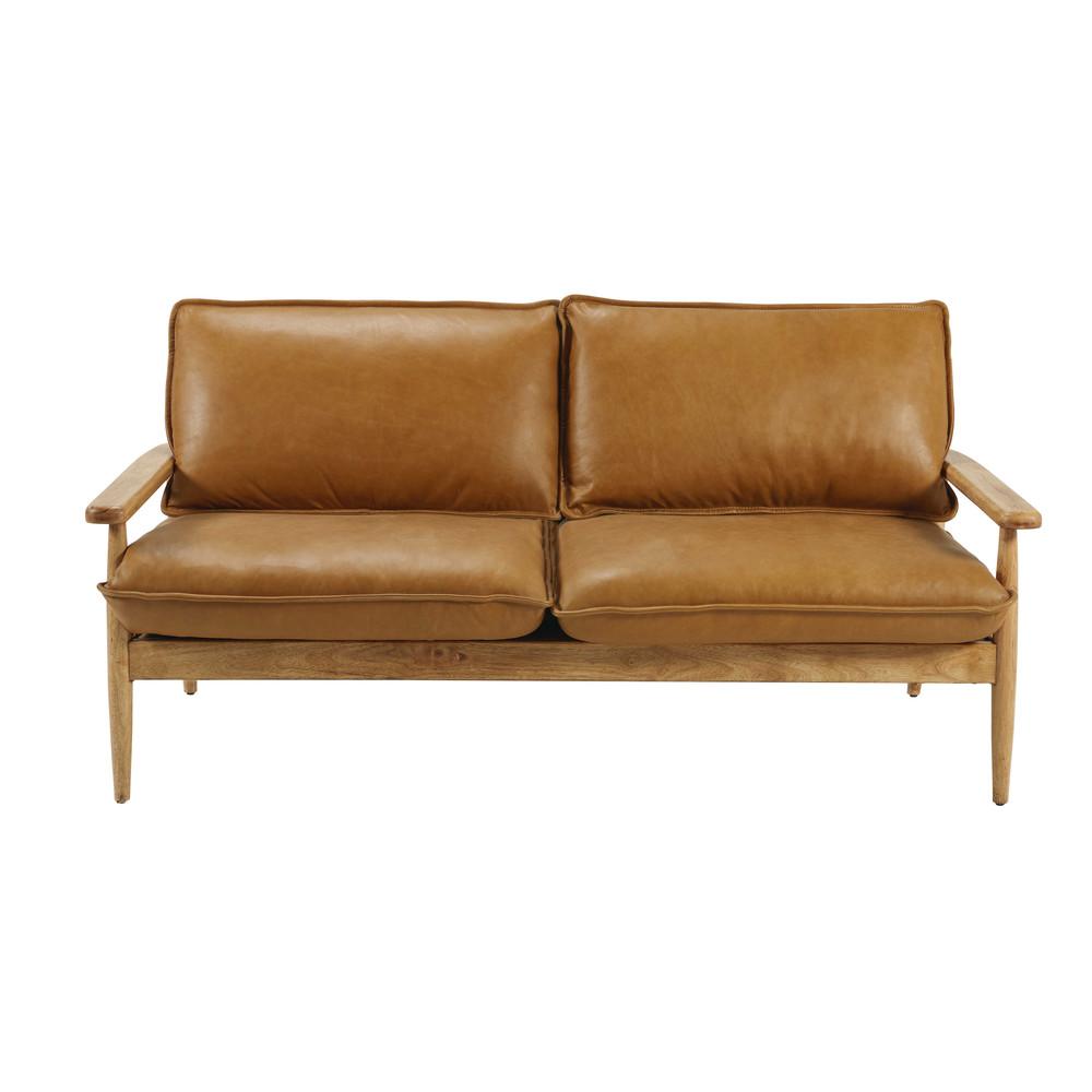 banquette en cuir de vachette camel harrow. Black Bedroom Furniture Sets. Home Design Ideas