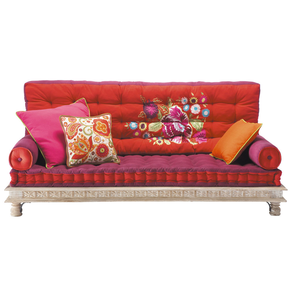 Banquette indienne 2 3 places en coton multicolore mono for Sofa lit pas cher