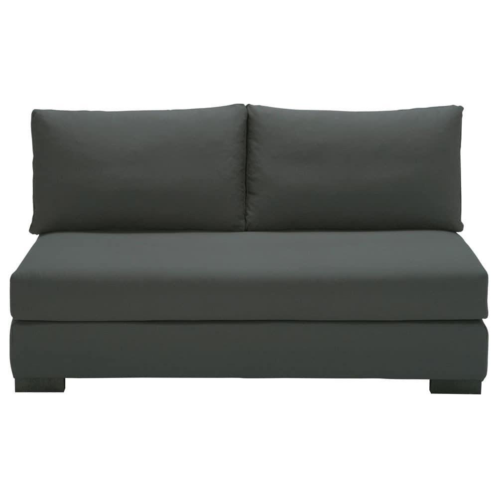banquette modulable 2 places en coton gris ardoise terence. Black Bedroom Furniture Sets. Home Design Ideas