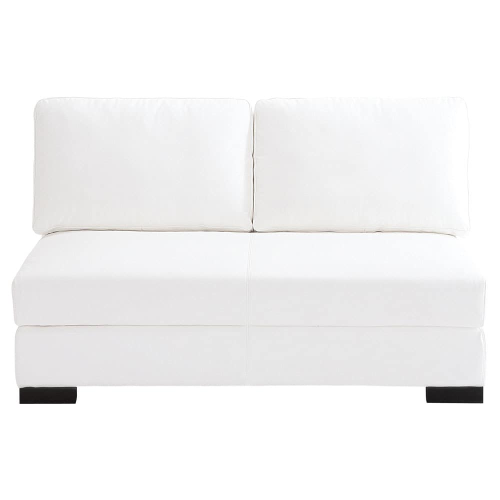 banquette modulable 2 places en cuir blanc terence maisons du monde. Black Bedroom Furniture Sets. Home Design Ideas