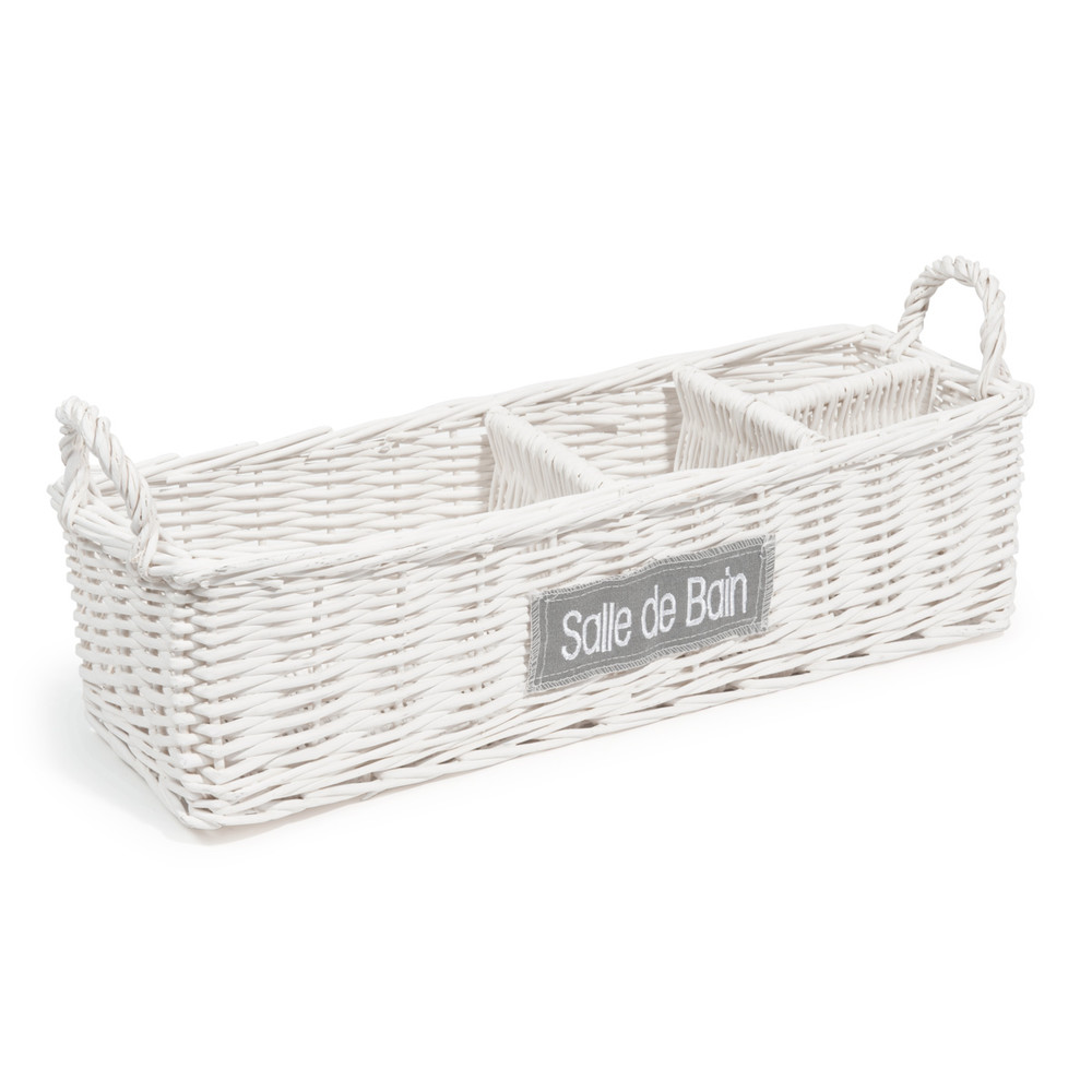 Bathroom Wicker Basket In White Maisons Du Monde