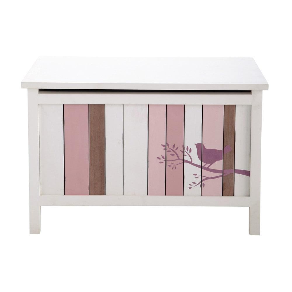 Ba l infantil de madera rosa y blanco an 70 cm violette for Baul madera infantil