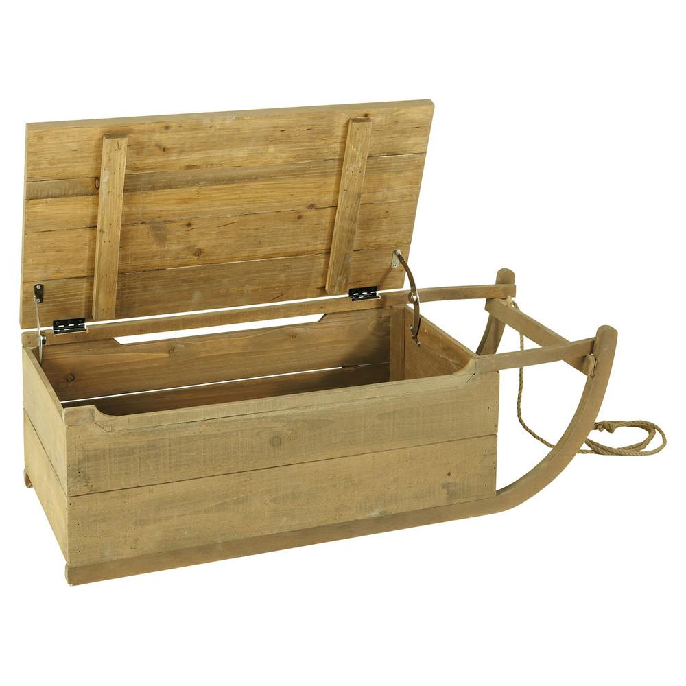 Ba l infantil trineo de madera reciclada noisette for Trineo madera decoracion