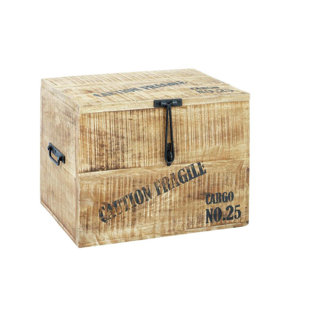baule in legno l 47 cm cargo maisons du monde. Black Bedroom Furniture Sets. Home Design Ideas