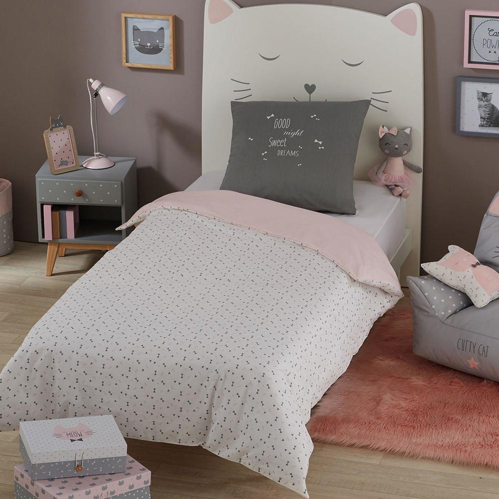baumwoll bettw schegarnitur f r kinder mit grau rosa. Black Bedroom Furniture Sets. Home Design Ideas