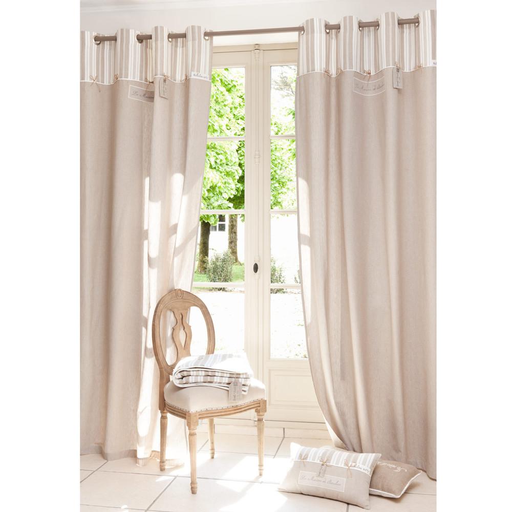 beige katoenen f licit gordijn met ringen 140 x 250 cm maisons du monde. Black Bedroom Furniture Sets. Home Design Ideas