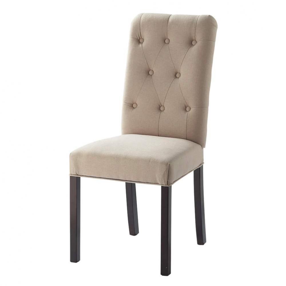 Beige linnen en houten gestoffeerde stoel elizabeth maisons du monde - Linnen stoel ...