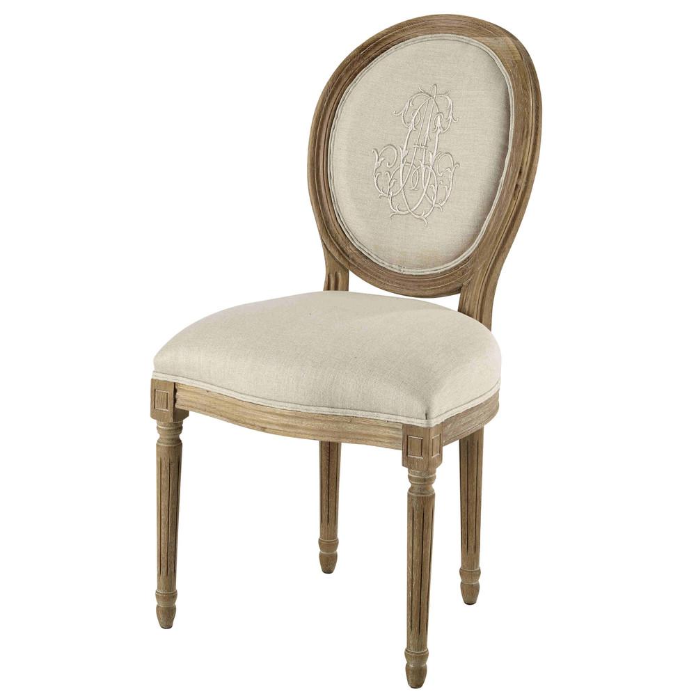 Beige medaillonstoel linnen en eiken louis maisons du monde - Linnen stoel ...