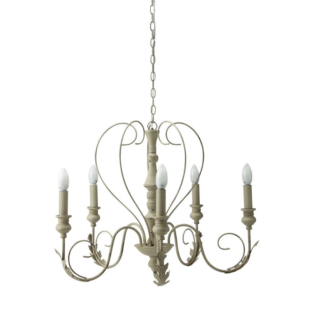 beige metalen 5 armige charlotte kroonluchter d 63 cm. Black Bedroom Furniture Sets. Home Design Ideas