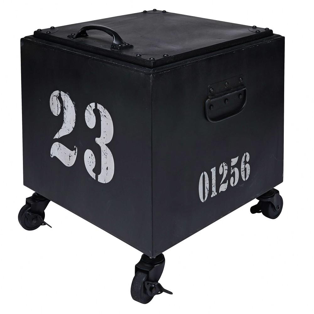 beistelltisch auf rollen aus schwarzem metall swann. Black Bedroom Furniture Sets. Home Design Ideas