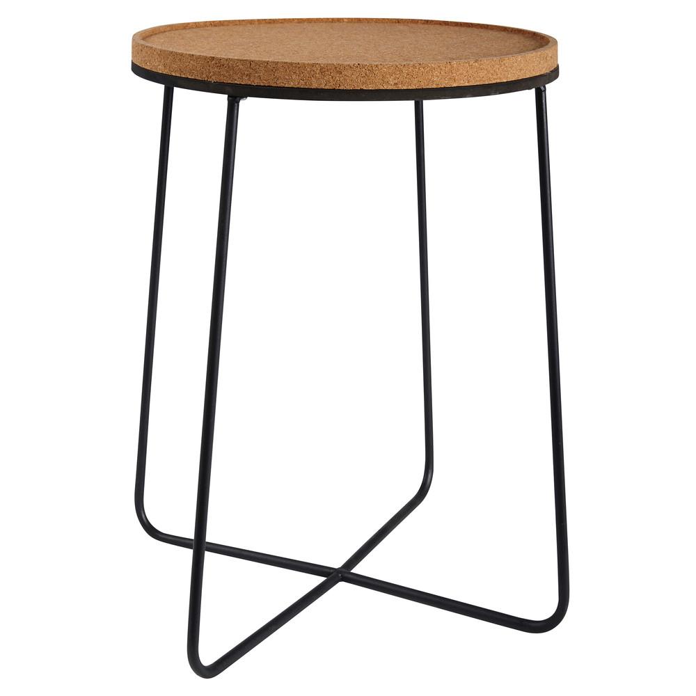 beistelltisch aus kork und schwarzem metall paulo. Black Bedroom Furniture Sets. Home Design Ideas