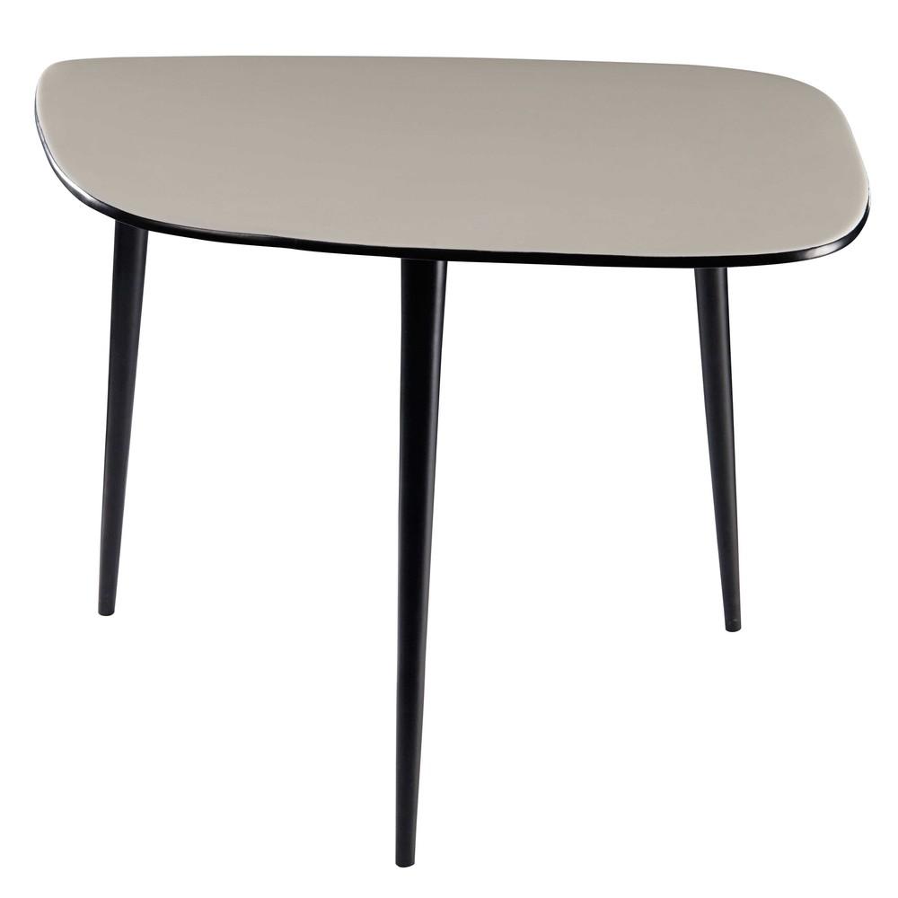 beistelltisch aus lackiertem metall hellgrau und schwarz. Black Bedroom Furniture Sets. Home Design Ideas