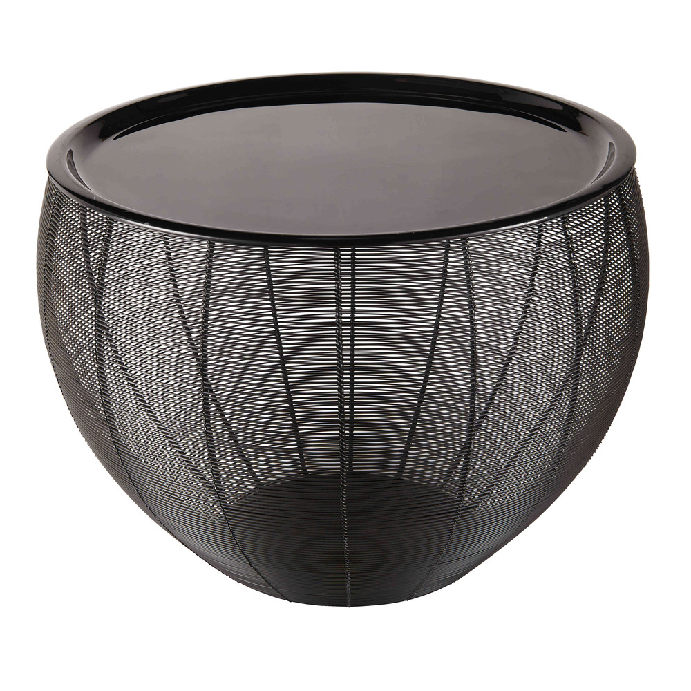 beistelltisch aus schwarz lackiertem metall yassir. Black Bedroom Furniture Sets. Home Design Ideas